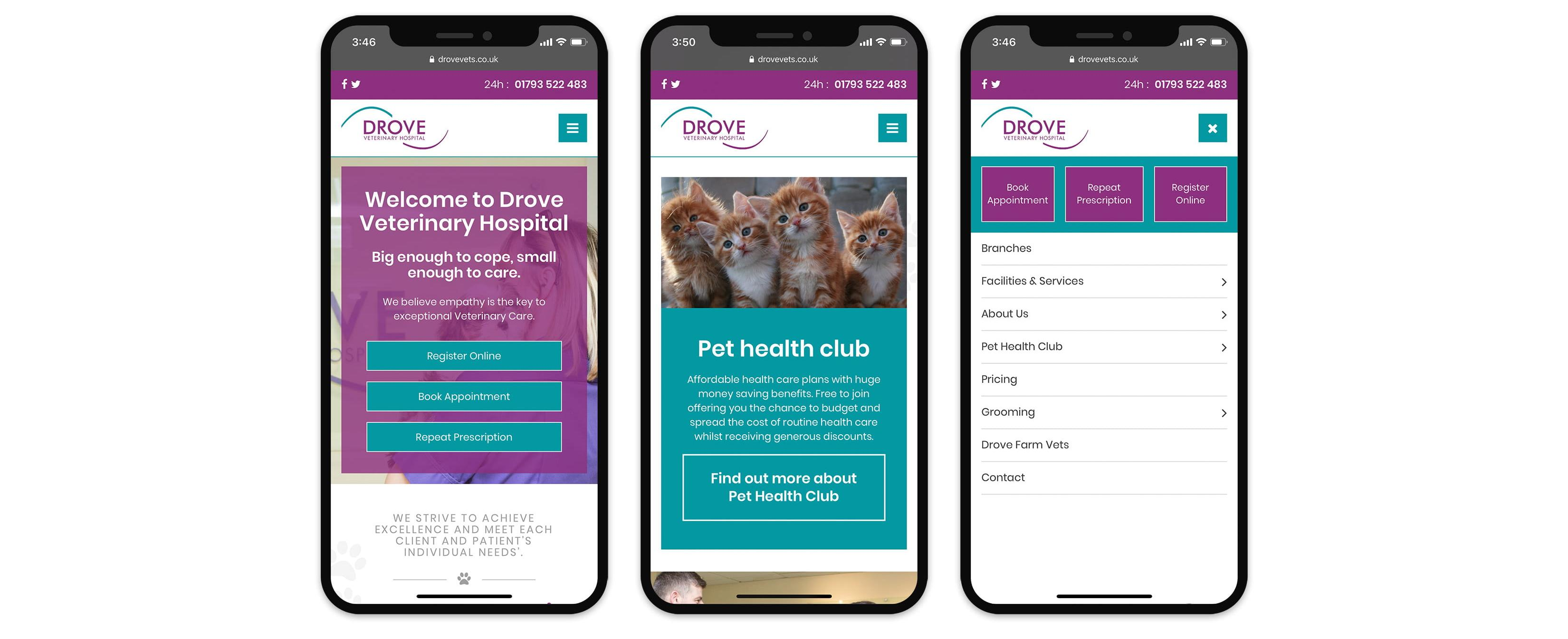 Drove Vets mobile website design