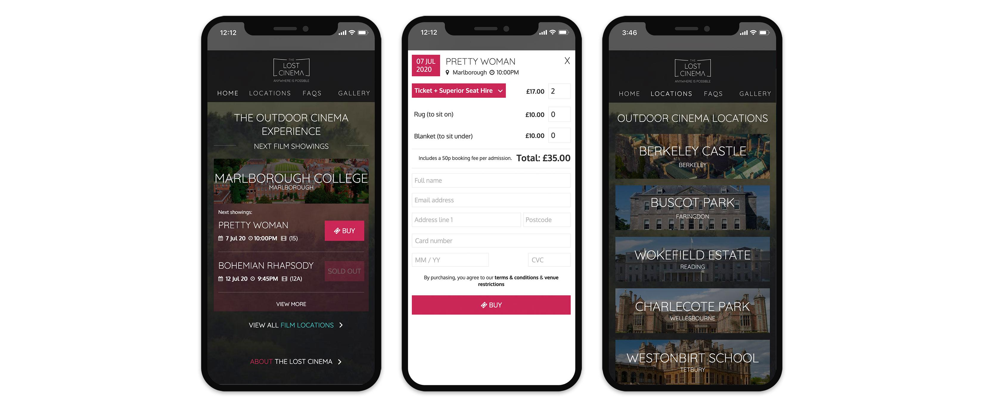 The Lost Cinema mobile website design