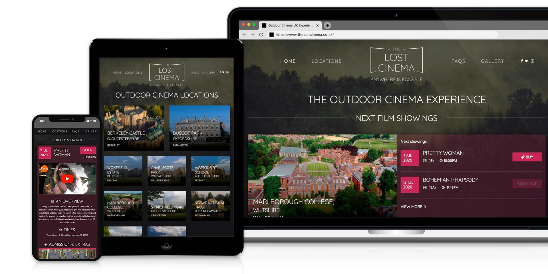 The Lost Cinema responsive website design