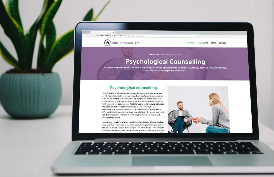 total therapy solutions website on laptop